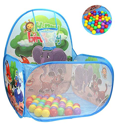 Ball Pit Basketball Hoop Play Tent for Kids and Toddlers, Animals Forest Theme Playhouse - 60 Balls Included – Perfect for Indoor and Outdoor, Gift for Kids, Easy Toy Storage + Carrying Handle