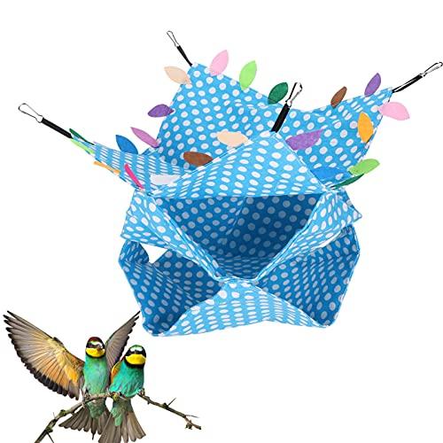 bizofft Hamaca para Animales pequeños, litera Triple Hamaca para pájaros Casa Cómoda No tóxica para esconderse para Jugar(Sky Blue Dotted Three-Layer Hammock (with Leaves))
