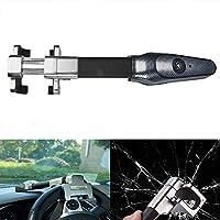 MASO 自動車ハンドルロック ユニバーサルアラーム盗難防止ロック 高耐久 格納式セキュリティアラーム Tロック 鍵2本付き