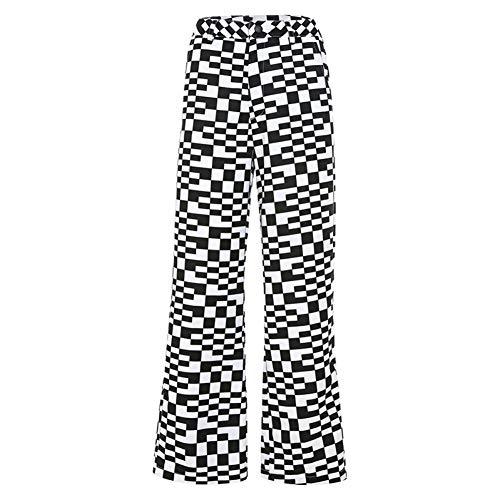 YSDSBM Casual Losse Geruit Broek Zwart Wit Plaid Capri Broek Vrouwen Hoge Taille Broek Dames Streetwear