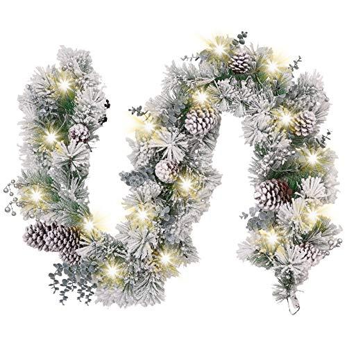 Valery Madelyn Weihnachtsgirlande 1.8M mit 20 LED Beleuchtet batteriebetrieben Tannengirlande aus PVC Weihnachtsdeko mit Timerfunktion Kunstschnee für In-/ Outdoor Grün Silber MEHRWEG Verpackung