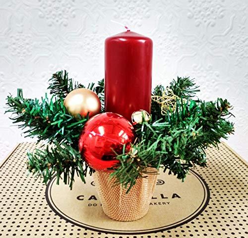 Kleiner Kerzenhalter in Rot und Gold
