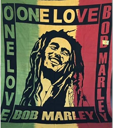 Toalla cubretodo grande Bob Marley 100% algodón indio estampado 210 x 240 cm