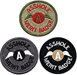 """COLIBROX 3 Pack Asshole Merit Badge Funny Patch Embroidered Military Morale Tactical Patches Hook & Loop Backing Emblem (2.48"""" in Diameter)"""