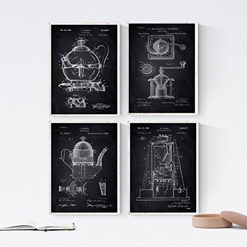 Nacnic Negro - Pack de 4 Láminas con Patentes de Cafeteras. Set de Posters con inventos y Patentes Antiguas. Elije el Color Que Más te guste. Impreso en Papel de 250 Gramos de Alta Calidad