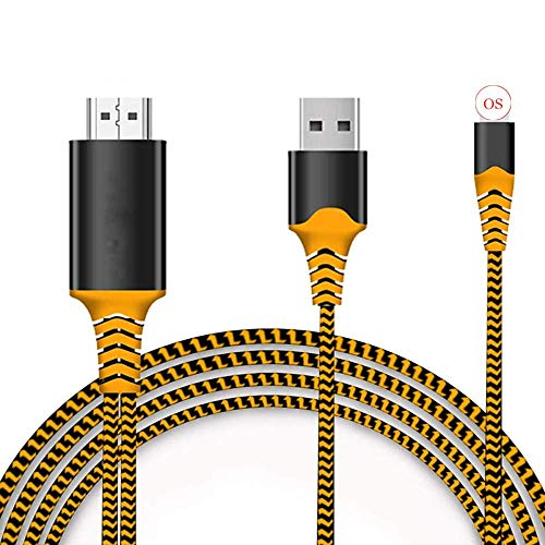 Compatible with iPhone iPad to HDMI Adapter Cable, 6.6ft HDMI Cord for iPhone iPad to TV, 1080P Digital AV Adapter HDTV Cable for iPhone/iPad to TV Projector Monitor - Orange
