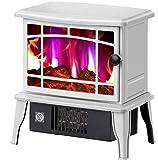 Calefactor Calentador de cocina eléctrica con efecto de la llama del quemador de madera de chimenea del calentador del calentador de interiores independiente anafe -1500W fuego blackelectric, Color: N