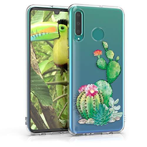 kwmobile Hülle kompatibel mit Huawei P30 Lite - Handyhülle - Handy Case Kaktus Blüte Grün Pink Transparent