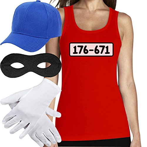 Shirtgeil Panzerknacker Banditen Bande Kostüm TOP + MÜTZE + Maske + Handschuhe Frauen Tank Top Small Rot