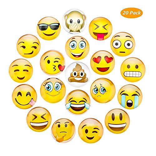 Imanes Lesfit Emoji para pizarra magnética, 3D, cristal, para nevera, decoración de cocina, Fridge, oficina, pizarra, hierro, niños, adultos, regalo, 20 unidades