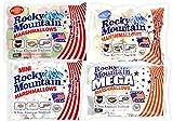 Rocky Mountain Marshmallows Paquete de prueba Classic 300g, Mini 150g, Mega 340g, Fruity 300g, dulces tradicionales americanos para asar en la hoguera, a la parrilla o al horno