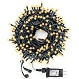Decute 105FT 300 LED Outdoor Christmas String Lights Indoor UL Certified with End-to-End Plug 8 Modes, Waterproof Starry Light for Christmas Tree Halloween Patio Garden Wedding Party Decor, Warm White