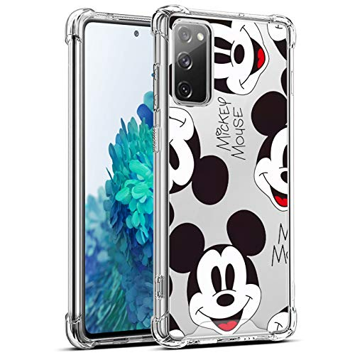 DISNEY COLLECTION Clear Samsung Galaxy S20 FE 5G Case Mickey Mouse Pattern Design Cute TPU+PC Cover with Bumper Shock Absorption Protection Slim Galaxy S20 FE 5G Cover 6.5 Inch 2020