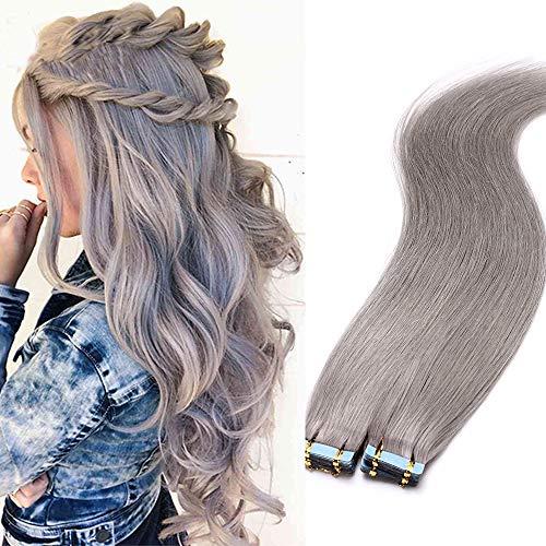 Tape Extensions Echthaar Klebe Haarverlängerung Glatt Weich Haarteil 7A Remy Human Hair 3g/ Stück 20 Stücke 60 Gramm 30cm #Grau