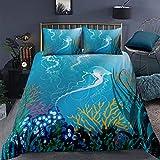 Funda de edredón para acuario, medusas decorativas, 2 piezas, arrecifes de coral marino, con 1 funda de almohada, tamaño individual, cremallera marina oceánica ultra suave de microfibra bajo el agua