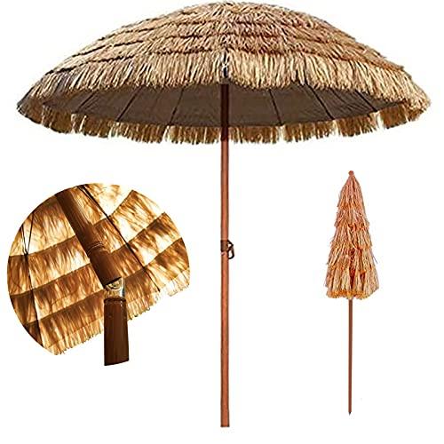 LBSI Sombrilla Hawaiana Sombrilla De Mesa Sombrilla para Patio Sombrilla De Jardín Exterior Sombrilla De Paja Sombrilla De Rafia,Sombrilla De Playa con Inclinación(180cm)