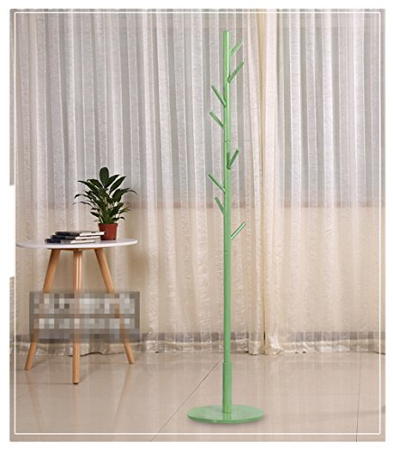 BestBang Solid Wood Coat Rack Hall Tree Hat Purse Display Stand, 8 Hooks (Green)