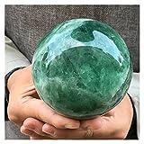 WERWER Decoración de Cuarzo de Bola de Cristal de fluorita Verde Natural Home Reiki Ore Energy Stone Crafts Ornamentos (Size : 6-6.5cm)