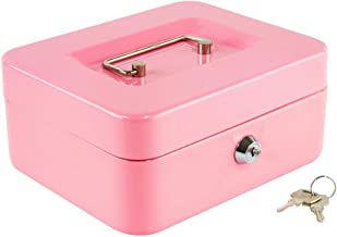 Kyodoled Medium Cash Box with Money Tray,Small Safe Lock Box with Key,Cash Drawer,7.87