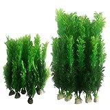 Juego de 10 plantas artificiales para decoración de algas marinas de plástico para acuario, plantas de plástico para acuario, plantas de plástico para peceras (10 unidades), color verde
