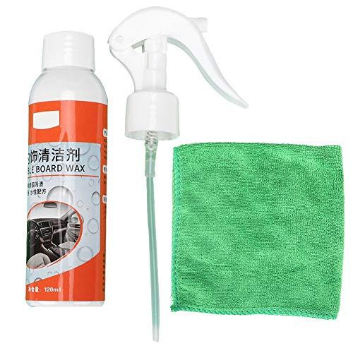 Qiilu Autopflege-Reiniger Auto-Innenreiniger Tragbares Auto-Innenreiniger-Reinigungsmittel mit Reinigungstuch für mehrflächige nLeather-Sitz-Armaturenbretter usw. 120 ml