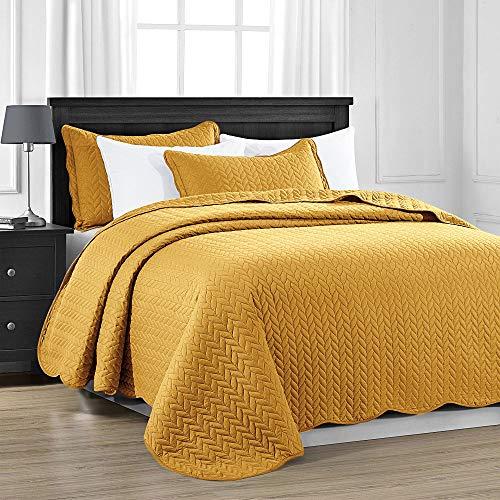 MOONLIGHT20015 Gesteppte Tagesdecke, Senffarben, Doppelbettgröße (220 x 240 cm) + 2 Kissenbezüge, für Schlafzimmer, Dekor, wendbar, gesteppte Tagesdecke mit mattem Finish (Senf / Ocker, Doppelbett)