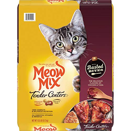 Meow Mix Tender Centers Basted Bites Dry Cat Food, Chicken & Tuna Flavor, 13.5 Pounds