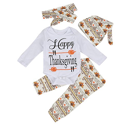 Ant-Kinds 4Pcs Infant Toddler Baby Romper+Pants+ Hat + Headband Baby Thanksgiving Outfits (0-6M)