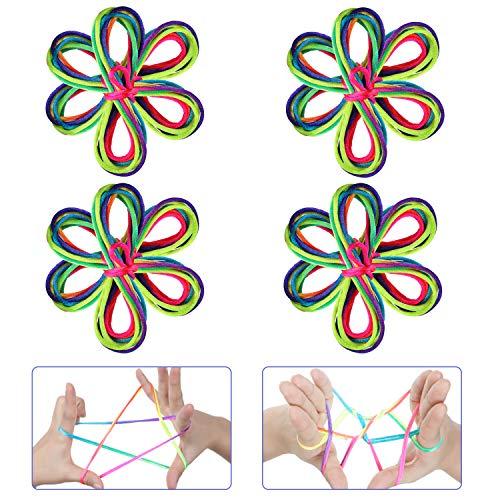 Anpro 12 Regenbogen Fadenspiel Fingerspiel, Fingertwist Rainbow Rope, Schnur Mitgebsel 165 cm