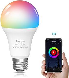 Bombilla LED Inteligente WiFi,E27 9W Equivalente a 60W 16 Millones de Colores 806 lúmen Bombilla WiFi Regulable LED Inteligente,Compatible con Alexa, Echo, Google Home e IFTTT (1 Pack)