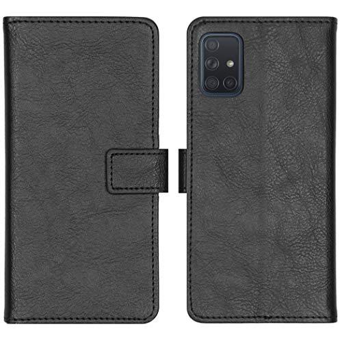 iMoshion kompatibel mit Samsung Galaxy A71 Hülle – Luxuriöse Handyhülle – Handytasche in Schwarz [Mit Ständer, Platz für 3 Karten, Magnetverschluss]