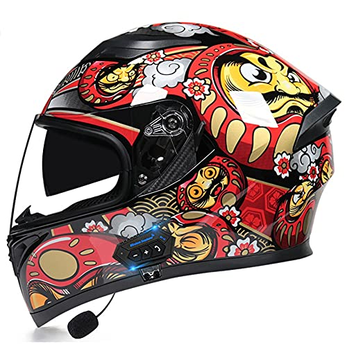 Bluetooth Casco Moto, Casco de Motocicleta con Doble Visera para Motocicleta Scooter, ECE Homologado Casco de Moto Integrado para Adultos Hombre Mujer (Color : I, Size : M(57-58CM)) 🔥