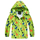 HZXVic abrigo para niño, chubasquero de niña, Poncho impermeable al aire libre para niños, Chaquetas con capucha para chico, Chaqueta de dinosaurios para chicos -verde 4-5 años