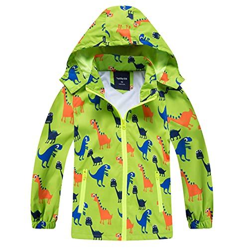 HZXVic Regenjacke Kinder, Kapuzen Outdoor Wasserdichte Jacke, Softshelljacke Kinder mit Dinosauriern 104-110
