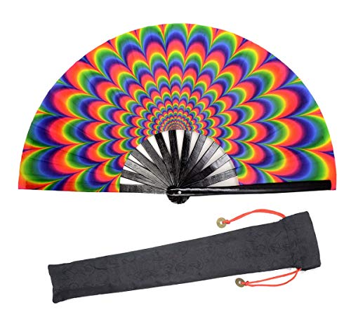 Leehome Large Rave Folding Hand Fan for Women/Men,Chinese/Japanese with Bamboo and Nylon-Cloth Handheld Fan,for Performance,Decorations, Dance,Festival Party,Gift (3D Vertigo)