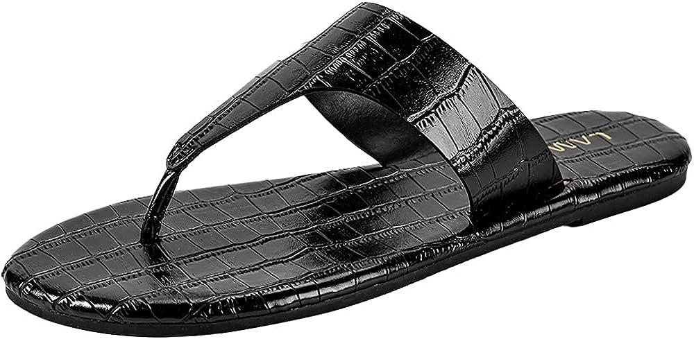 Women's Flat Croco Thong Slip on Casual Flip Flops Summer Beach Sandals
