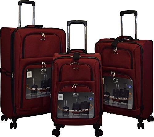 Kemyer 1000 Plus Series 3-PC Expandable Spinner Luggage Set (8 wheel-Burgundy)