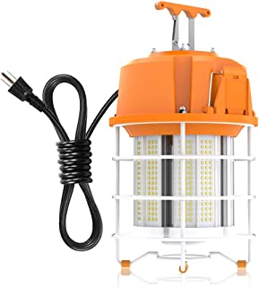 HYPERLITE Portable 60W LED Temporary Work Light Fixture 7500LM 5000K High Bay Work Lights Construction Lights with Metal Guard and Hook for Warehouse Job Site Workshop AC120-277 UL Listed