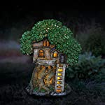 "Exhart Solar Fairy Garden House w/Shingle Roof Fairy Tree House Garden Statue |Solar Powered LED Light Fairy House Statue | Durable Resin & Hand Painted Outdoor Fairy Garden House | 9""x8.5""x12"" Lit at Night"
