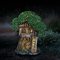 "Exhart Solar Fairy Garden House w/Shingle Roof Fairy Tree House Garden Statue |Solar Powered LED Light Fairy House Statue | Durable Resin & Hand Painted Outdoor Fairy Garden House | 9""x8.5""x12"" Lit at Night"