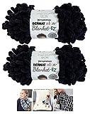 Alize Bernat EZ Blanket Yarn Bundle 100% Polyester (Black, 2-Pack)