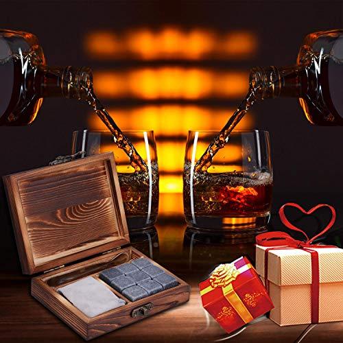 PEMOTech Whisky Steine, 9 Paare Granit-Drink-Rocks, 1 Edelstahlclip und 2 Untersetzer, verpackt in Einer exklusiven hölzernen Geschenk-Tasche und Samt-Tasche, Männer im Winter - 7