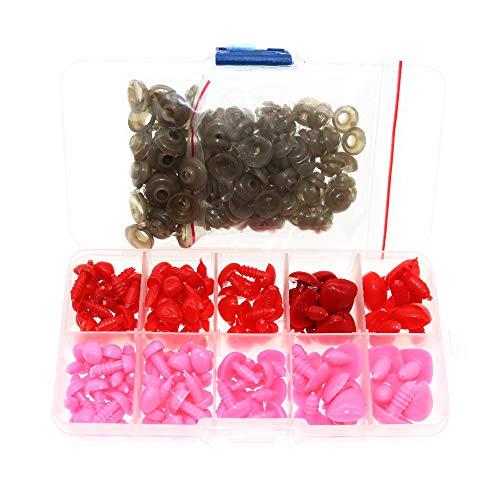 BITEYI Coloridos Plastic Narices de Seguridad DIY Vistoso Craft Narices con Arandelas 130 Piezas 8-16mm para Muñeca,Marioneta,Felpa Animal (Rojo y Rosa)