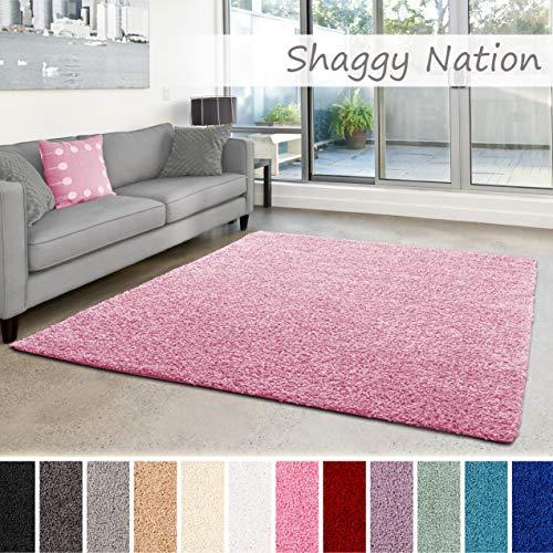 Shaggy-Teppich   Flauschiger Hochflor für Wohnzimmer, Schlafzimmer, Kinderzimmer oder Flur Läufer   einfarbig, schadstoffgeprüft,...