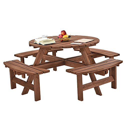 Britoniture 8 Seater Wooden Round Picnic Table and Bench for Garden Pub Patio
