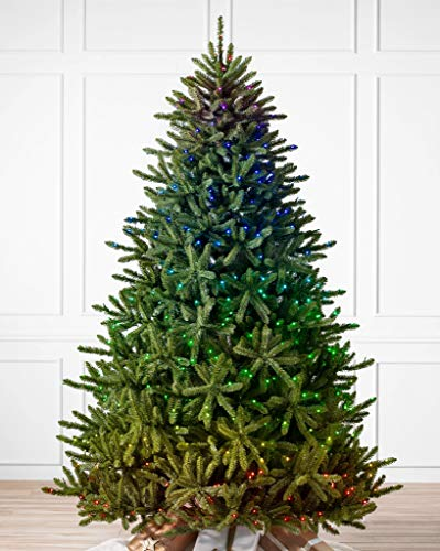 Balsam Hill Amazon Exclusive 7ft Premium Pre-Lit Artificial Christmas Tree Classic Blue Spruce with LED Twinkly Light Show, Storage Bag, and Fluffing Gloves