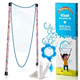 BIGBUA Giant Bubbles Kit: Complete Fun Bubble Making Set with Long, Flexible, Corded Dual Wand, Mixing Powder for 2.5 Gallons, and Free Mini-Hoop + Free Mixing Powder 2.5 Gallons