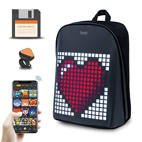 divoom Verbundener Artikel – Geschenkidee für Jungen – Geschenk für Mädchen – Rucksack mit intelligenter und animierter Pixel-Art + Bluetooth-Fernbedienung + Powerbank