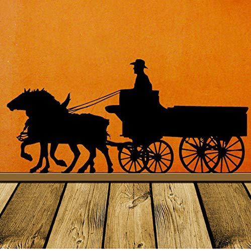 Pioneer Horse Decoration, Carriage, Old West, West, Wall Decal, Stage Coach, Denim Wall Vinyl Sticker Home, Office Decoration 89X42Cm