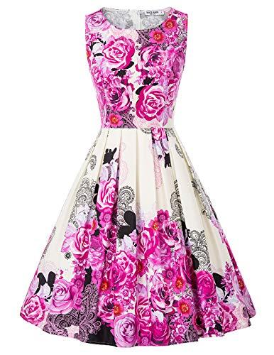 Retro Kleid a Linie v Ausschnitt Kleid Damen 50s Kleid a Linie trägerkleider Fashion Kleid CL992-7 S